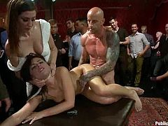 Sexy slut Adriana Chechik lets a few guys tie her up and play with her nice holes. Then she stands on all fours and gets her vag drilled doggy style.