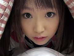 Well well, look what I have under my blanket! It's my sweet, girlish Japanese teen and she wants to have a taste of my dick. This young, innocent looking cutie plays with my hard cock and then takes it out to lick it. I think a load of jizz on her face will make her happy, should I give her some?