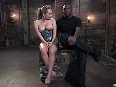 Jack Hammer gets bounded by big tittied blonde girl. She whips him with a stick and then toys his ass with strap-on. Of course, after all she takes his huge dick in her pussy.