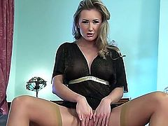Horny blonde MILF Sammi Tye poses in a sexy black nightgown before playing with her sweet pussy