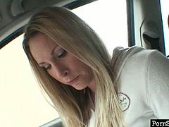 Tasty looking busty blond whore gets picked up in the street as she waits for her bus under a heavy downpour. As soon as she gets into the car, she unzips her sweatshirt to demonstrate big cuddly tits in pov sex scene by Pornstar.