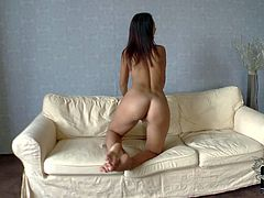 Olivia is a lovely young teen brunette that loves posing naked for the camera. Hottie with apple ass has a nice time stretching her pussy lips. Watch her play with her snatch.