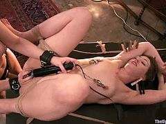 Hot Sarah Shevon lies on a table while other people have a dinner. After that she gets toyed and fucked hard.
