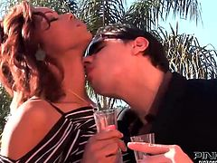 Marie Luv drinks champagne by the piscina with her man. Once she's horny enough he opens his pants and she wraps her lips around his penis for a nice blowjob. With his cock still hard and she with her pussy still wet, they head inside for more fucking and fun.
