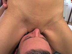 Ferrera Gomez gets her pussy fucked nicely, but the way this guy's cumshot gets on her tongue is incredible.