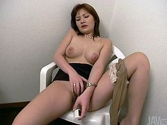 Japanese girl Anna tickles dick head with her tongue