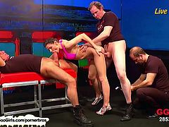 Make sure you don't miss this live bukkake session. Kinky german slut Charly got stuffed heavily in her holes for some huge cumshots at the end!
