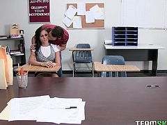 Ariana likes to break the rules and that's why her teacher is punishing her at her school. But in her mind it is the best punishment she has ever had. She was looking for this chance for a long time to stuff her mouth with her friend's huge man meat. Watch if she gets banged or not!