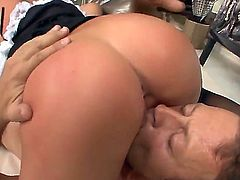 Jessica Rox gets fucked very hard by Rocco Siffredi. She stands in doggie feeling big dong inside of butthole before giving a head while Rocco is licking her pussy.