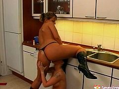 Ample Russian lesbians with hot temper and slack tits make out in the kitchen. They eat each other's soaking pussies with pleasure before poking them with kitchen staff.