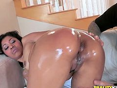 Stunning Black girl shows her perfect ass standing on all fours. After that she gives hot blowjob and gets pounded in a cowgirl position.