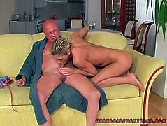 Kinky pallid blondie with natural tits doesn't stop giggling. It's her reaction on the fact, that she's won a strong dick. Spoiled booty blondie doesn't waste time and provides a lucky bald headed dude with a stout blowjob for sperm.