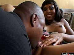 Cum addicted black wanker with already fist nipples goes nuts. Wondrous harlot with big tits and smooth rounded ass switches from playing billiard to giving a solid blowjob to a strong BBC for gooey cum.
