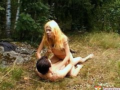 Sex greedy Russian folks head deep into the woods in order to be able to fuck away from people's eyes. Shabby blondie bends down to get nailed from behind before she rides stiff cock in cowgirl style.