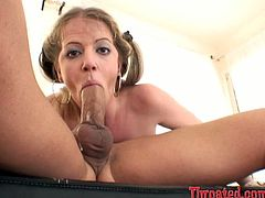 Pigtailed blonde Anita Blue is trying hard to favour her man. She sucks and rubs his schlong ardently and moans huskily with pleasure all the time.