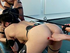 There's not only bondage and domination in this femdom lesbian video, but also some pretty hot lesbian fucking!