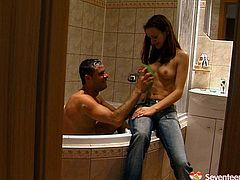 Seventeen Video sex clip will show you how horny and spoiled teens can be. Zealous brunette teen is topless. Her tits are small and her nipples are fist. Dirty filthy gal thirsts to fill her mouth full with sperm. So voracious chick doesn't hesitate to provide her BF with a solid blowjob in the bathroom and then on the couch.