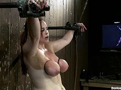 The bitch gets her titties tied up tight till they redden in this hot hardcore bondage scene right here! Check it out! It's fucking hot!