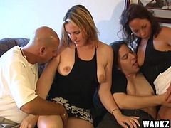 Bored by their wives, these guys decide to swing and boy, they are having a great time doing it. The whores can barely wait to have a taste of some other cock, except their husbands, so things get hot and heavy quick! Look at them sucking dick and then getting ready for some lesbian action. Stick with us for more!