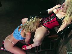 Blonde girls make hot show. Mistress gets her pussy licked. After that slave girl gets tied up and fucked with strap-on.