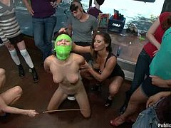 Busty brunette Ariel X is having fun with some kinky chicks indoors. The girls tie Ariel up and fuck her holes with all kinds of toys.