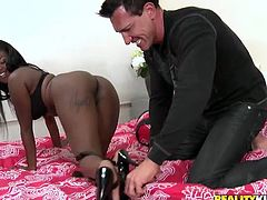 Kinky ebony girlie loves stripping and posing seductively. She demonstrates her smooth rounded and big ass with delight while wearing black lingerie right on the couch. You've got a chance to enjoy this awesome booty nympho in Reality Kings sex clip right here and now!