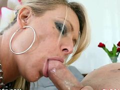 Slutty blonde mom Debi Diamond is trying hard to please her man. She sucks and rubs his dick ardently and soon manages to milk it dry on her face.