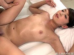 This naughty Japanese babe called Miku Hasegawa gives a hot nuru massage, oiling her man up, giving him a blowjob and cock ride.