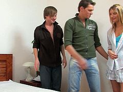 As you can see, the girl is dying to get fucked hard by two handsome guys. She blows them right there in the bedroom moving from one stiff prick to the next with her insatiable mouth.