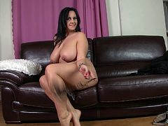 Slutty black haired BBW has nothing against stripping on cam. This brunette is the owner of huge mesmerizing butt and awesome big boobs, which she shows proudly while sitting on the couch. Check her out in DDF Network sex clip and gain your portion of pleasure.