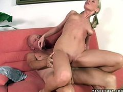 Be pleased with hot and exciting old+young sex tube video. Nasty blonde with small tits rides cock reverse and face to face. Watch her adorable ass for free.