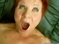 Well, this red and short haired gammer is too horny. She warms up with a dildo and then spreads plump legs wide to be fucked missionary tough right on the couch. Then spoiled fat bitch with huge ass kneels down to give a solid blowjob for sperm.