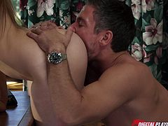 Teal conrad gets her hairy clam banged on the desk