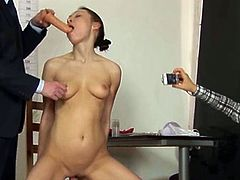 She wanted to get the job so bad, but first she got to have some fun with the bosses. She spreads legs and got her tight pussy toyed!