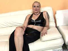 Sex greedy dude doesn't really care who to fuck with. This time he picks up a tall manly looking short haired blondie in latex costume for a steamy sex session by 21 Sextury.