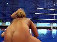 Two frisky babes Linda Ray and Teena Dolly enjoy showing which one of them is stronger. They are fully naked in a ring and giving it their best to win.