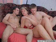 This huge bbw momma has never experienced something like this. These young boys fuck the shit out of her holes like crazy and jizzed allover her!