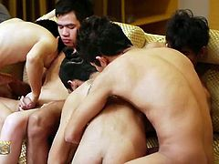 Watch these Five Thai boys Chai, Aam, Billy, Kaan, and Ton as they blow their hard cocks before one of them gets covered in fresh piss.