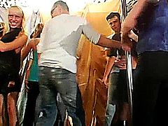 Amazing party chicks dancing and sucking large shafts in public in a club