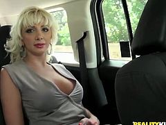 Horn made busty blond mature with bright red lips hooks up with sex hungry driver in the buss who lures her home in steamy sex in Reality King sex video.