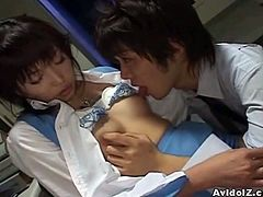 Watch a naughty Japanese brunette secretary giving her boss a hell of a blowjob after he licks her tits. Then she's ready for her hairy clam to be drilled balls deep into a breathtaking explosion of pleasure.