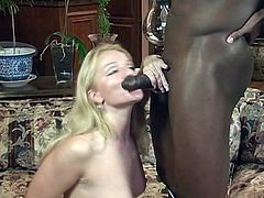 Watch this hot and horny blonde milf, sucking a huge big black cock and letting him lick her horny wet pussy, which he licks and fucks her hard.