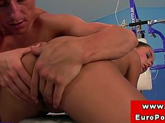 This hot euro brunette babe does not come to gym for exercise but just to get her wet pussy fucked.Enjoy this young sexy brunette babe taking big cock in her tight horny pussy hard.