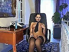 Sexy mature secretary playing with herself, hot!