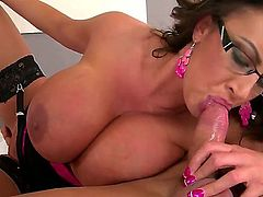 Hot MILF Emma Butt uses her large tits to wank a hard cock before sucking it. While she is boned doggy style she is slurping another mans throbbing wang.