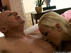 Slutty blonde girl sucks dick of old guy. Then she is penetrated in her coochie in a missionary position. Perverted grandpa pokes her actively until he cums on her pussy lips.