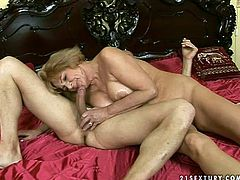 21 Sextury xxx clip is surely for you, if you're a fan of fat old nymphos. This light haired fatso is fond of riding a cock and her huge boobs bounce heavily. Poking of her wet mature cunt from behind won't be the last thing to please booty old whore.