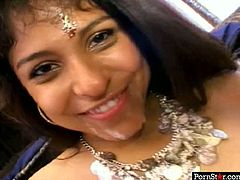 Fresh faced Indian amateur smiles on cam with her cute face fully covered with a hot semen after a mind taking blowjob in solo sex video by Pornstar.