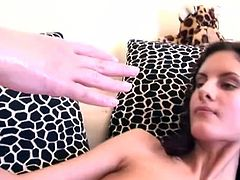 Fresh faced brunette MILF in sassy black stockings moans with pleasure while a perverse domina fists her stretched soaking cunt in steamy lesbian sex video by 21 Sextury.