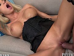 Stunning blonde slut Rikki takes a huge load in her pussy after getting fucked hard by Marco Banderas and his big stiff cock!